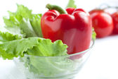 Red pepper and lettuce — Stock Photo