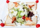 Light salad with seafood — Stock Photo