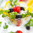 Mouthwatering salad with feta and cherry tomatoes — Stock Photo