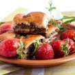 Ruddy biscuits and fresh strawberries — Stok fotoğraf