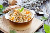 Porridge prepared from pearl barley — Stock Photo