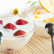 Fresh strawberry and orange yogurt — Stock Photo
