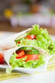Mouthwatering Armenian lavash and fresh vegetables — Stock Photo