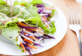 Cabbage salad wrapped in lettuce — Stock Photo