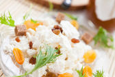 Sweet dessert of cottage cheese and raisins — Stock Photo