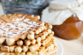 Homemade honey waffles - fragrant dessert — Stock Photo