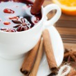 Stock Photo: Mulled wine with cinnamon and spices