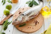Raw fish close-up on a cutting board — Stock Photo