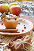 Flavored apple with cheese and honey baked — Stock Photo