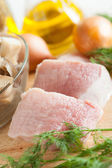 Two pieces of raw pork closeup — Stock Photo
