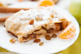 Apple pie with raisins, Viennese strudel — Stock Photo