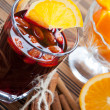 Stock Photo: Warm wine with almonds and orange