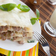 Homemade lasagna with béchamel sauce — Stock Photo