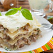 Lasagna with béchamel sauce and mozzarella — Stok fotoğraf