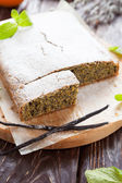 Square cake with poppy seeds and orange zest — Stock Photo