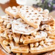 Stock Photo: Waffles with powdered sugar homemade
