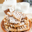 Time to have tea with the Viennese waffles — Stock Photo