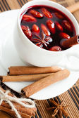 Drink from warm wine with spices — Stock Photo