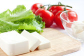 Feta cheese and tomato salad - Ingredients — Stock Photo