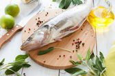 Process of preparing raw fish, walleye — Stock Photo