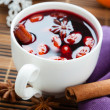 Winter hot drink of wine, mulled wine — Stock Photo