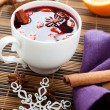 Traditional winter hot drink of wine, mulled wine - Stock Photo