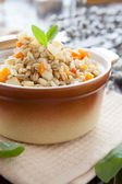 Nourishing barley porridge with root vegetables — Stock Photo