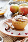 Flavored apple baked with cottage cheese — Stock Photo