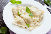 Meat ravioli with basil and parmesan — Stock Photo