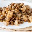 Stock Photo: Boiled lentils with stewed vegetables