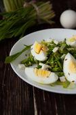 Salada de alho poró selvagem primavera e ovos — Fotografia Stock