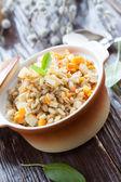 Nutritious barley porridge lean in a pot — Stock Photo