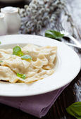 Square ravioli with basil leaves — Stock Photo