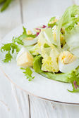 Spring salad with lettuce and egg — Stock Photo
