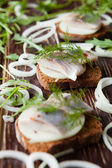 Herring fillet on a piece of rye bread — Stock Photo