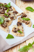 Flavored baked thin bread with cheese and mushrooms — Stock Photo