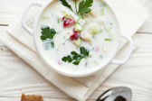 Russian traditional Okroshka, summer soup — Stock Photo
