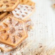Heap ruddy waffles with chocolate — Stockfoto #24420013