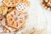 Heap ruddy waffles with chocolate — Stock Photo