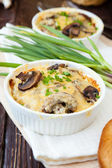 Mushroom julienne in a baking dish — Stock Photo