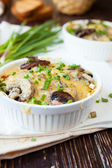 Mushroom julienne in a white bowl — Stock Photo