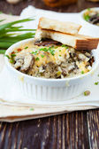 Rice baked with cheese and mushrooms — Stock Photo