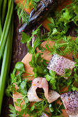 Fresh fish fillet on a cutting board, pike — Stock Photo