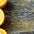Halves of an orange on the boards, horizontal — Stock Photo