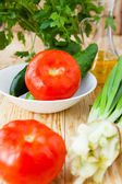 Fresh vegetables, tomatoes and cucumbers — Stock Photo