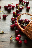 Ripe cherries in bulk on a table and a basket — Stock Photo