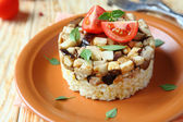 Rice with fried mushrooms — Stock Photo