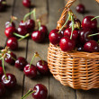 Ripe cherries in a basket — Stock Photo
