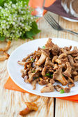 Chanterelle mushrooms on a white plate — Stock Photo