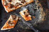 Mushroom pizza with cheese and onions — Stock Photo